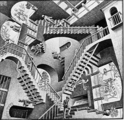 M.C. Escher, Relatividade, 1953. Litografia