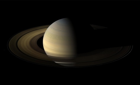 From 20 degrees above the ring plane, Cassini's wide angle camera shot 75 exposures in succession for this mosaic showing Saturn, its rings, and a few of its moons a day and a half after exact Saturn equinox, when the sun's disk was exactly overhead at the planet's equator. The images were taken on Aug. 12, 2009, at a distance of approximately 847,000 km (526,000 mi) from Saturn. (NASA/JPL/Space Science Institute)